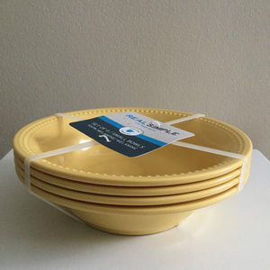 Set of 4 Real Simple Yellow Melamine Bowls NEW